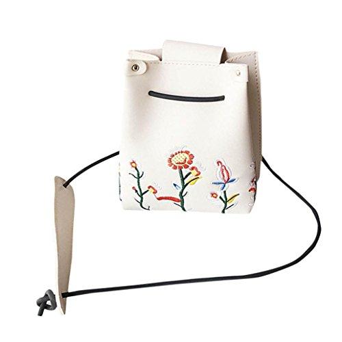 Schultertaschen Damen, DoraMe Mädchen Frauen Retro Weiblich Einfache Crossbody Umhängetasche Floral Stickerei PU Leder Handtasche (Weiß)