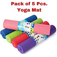 5 Pcs. Yoga Mat High Density, Anti-Slip Yoga mat for Gym Workout and Flooring Exercise Long Size. 4 mm Yoga Mat for Men & Women Fitness [Multicolor][5 Pcs.]