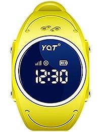 BJESSENCE 1PC Q520S Smart Watch Teléfono Niños GPS Tracker Anti-perdida Alarma IP68 a prueba de agua Pulsera de pulsera multipropósito Regalo de cumpleaños regalo de niños (Amarillo)