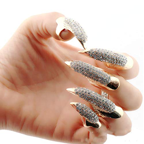 5 Stück/Set Falschen Nagel-Punk Style Clear Crystal-Greifer-Tatzetalon-Finger RING Knuckle Biegung Fingertip Finger-Greifer-Ring Gold (Mitte)