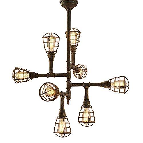 Ruanpu Industrielle Vintage Deckenleuchte Deckenlampe Rohr lampe E27 Sockel Metall Bronze mit Korb für Wohnzimmer Esszimmer Restaurant Café Keller Untergeschoss Dekoration usw(Keine Leuchtmittel)