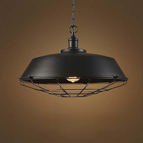BAYCHEER Suspension Chandelier Abat-jour en Métal avec Grille Lampe Style Rétro Industriel Eclairage Decoratif -B