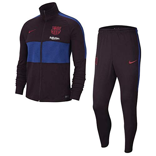 Official 2019 2020 FC Barcelona Knit Tracksuit manufactured by Nike. This burgundy Ash Barcelona tracksuit is available to buy in adult sizes S, M, L, XL, XXL and is part of the mens FCB 2019 2020 training range.The FC Barcelona Strike Tracksuit is r...
