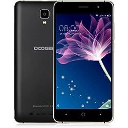 Téléphone Pas Cher 3G, DOOGEE X10S 2019 Téléphone Portable débloqué, Android Go Mobile, 5,0 Pouces Display, 1Go+8Go, 3360mAh, Dual SIM, Caméras, Smartphone à Bas Prix Moins de 50 Euros, Noir