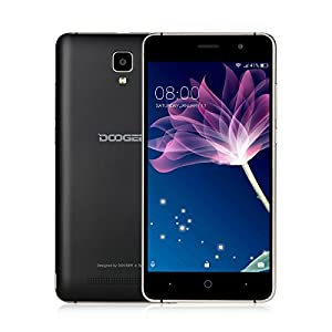 Mobile Phones Unlocked, DOOGEE X10 3G Dual SIM Free Smartphones - 6.0 Android Phone - MT6570 Quad Core 512M RAM+8GB ROM - 5 Inch HD Display - 2.0MP+5.0MP Camera - Black