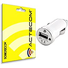ACTECOM® MINI CARGADOR COCHE MECHERO USB BLANCO PARA IPHONE Y ANDROID