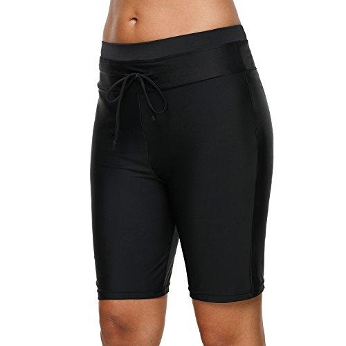 attraco Frauen-Badehose, für Sport Schwimmen Surfen Strand, Shorts, Männerstil Gr. XL, Black Drawstring - Groß Und Groß Drawstring Shorts