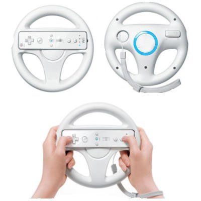 LS 3x Lenkrad Weiss Racing Wheel SET für Nintendo Wii MarioKart Wii U NEU weiss Lenkräder 3er Set für (Wii Wheel)