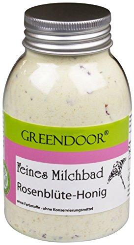 Greendoor MILCHBAD Rosenblüte Honig 250ml aus der Naturkosmetik Manufaktur, Haut pflegendes Milch Bad, natürlicher Badezusatz, bioabbaubar, Entspannungsbad, Pflegebad Hautpflege, - Trocken-milch-bad