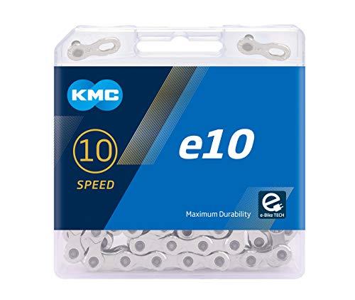 """KMC Unisex- Erwachsene e10 Silver E-Bike 10-Fach Kette 1/2\"""" x11/128, 122 Glieder, Silber"""