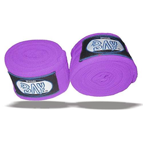 "BAY® ""basic 2,5"" Boxbandagen + WICKELANLEITUNG, LILA purpur violett VIOLETT, elastisch, 2,5 Meter x 5 cm, Box-Bandagen, Paar, LILA"