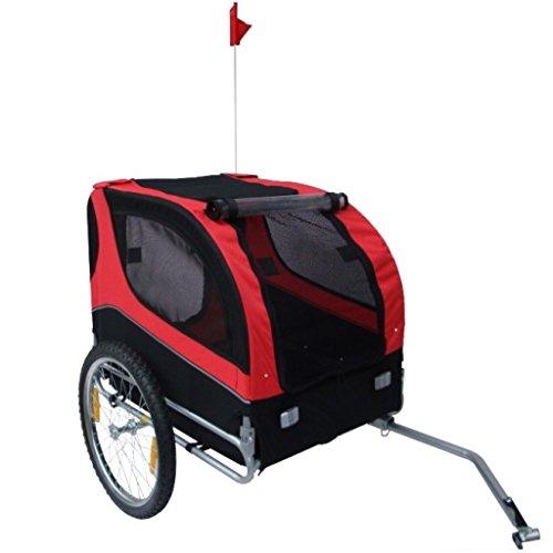 Hundeanhänger Fahrrad Hundefahrradanhänger rot-schwarz mit Sicherheits-Drehkupplung -