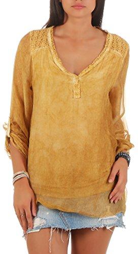 malito Damen Bluse aus Seide | Tunika mit ¾ Armen | Blusenshirt mit Spitze | edles Oberteil – Shirt 6705(gelb) (Gelbe Seiden-bluse)