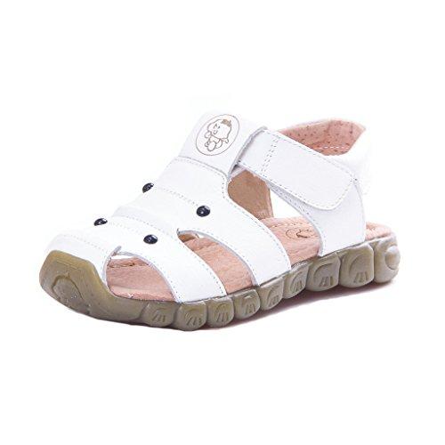 Eagsouni Unisex-Kinder Geschlossene Sandalen aus weichem Leder Outdoor Trekkingsandalen Lauflernschuhe Klettverschluss 30(Schuhe Innenlänge:18.8cm) Farbe Weiß (Sandale Fashion Leder)