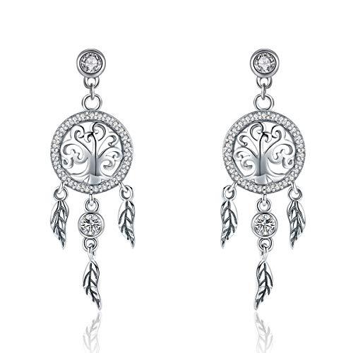 Shysnow Silber Traumfänger Ohrringe mit Baum des Lebens baumeln Quaste Federn Dream Catcher Ohrstecker für Frauen Mädchen