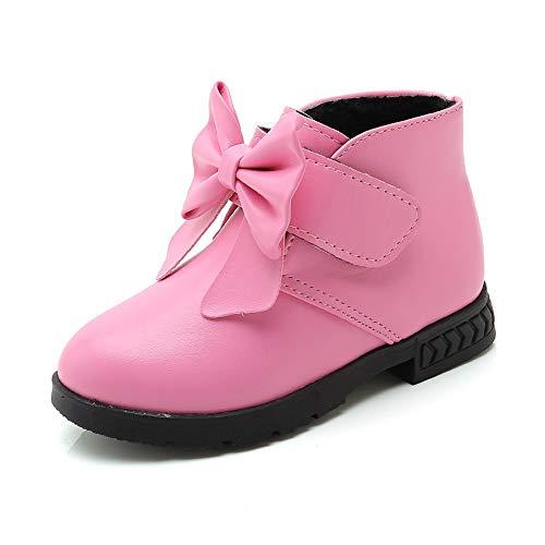 Quaan Kinder (21-36) Prinzessin Schuhe, Kind Baby Mädchen Solide Bowknot Martin Stiefel Karikatur Winter Leder Warm Beiläufig Anti-Rutsch wasserdicht Schnee Festival Retro Klassisch Schuhe Stiefel