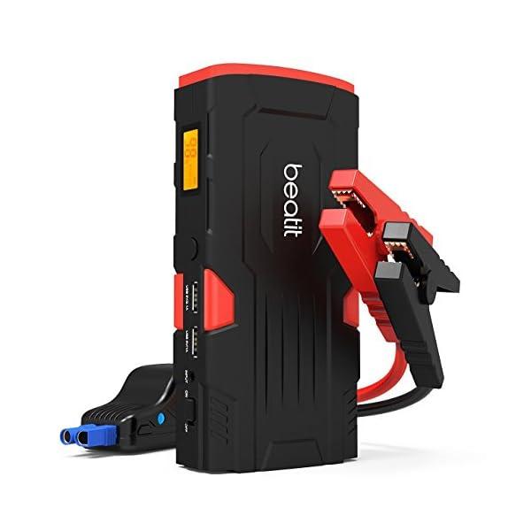 Arrancador de coche portátil Beatit D11 800A Peak de 18000 mAh y 12V (hasta 7,5 l de gasolina o 5,5 l de diésel) con paquete de refuerzo de batería automático y cables de puente inteligentes