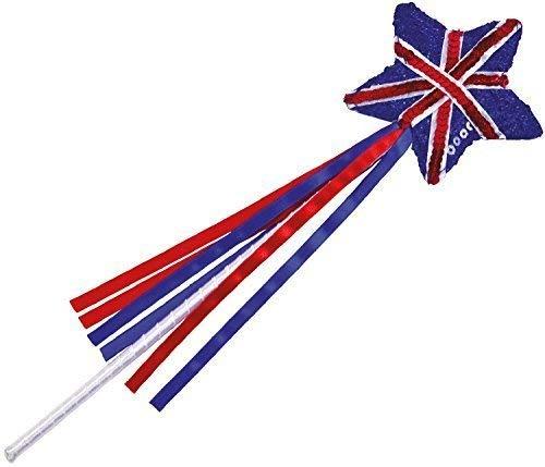 Mädchen Paillette Funkelnd Union Jack Prinzessin Zauberstab Großbritannien Britische Königliche Hochzeit Party Celebration Kostüm Verkleidung Zubehör (Königliche Hochzeit Kostüm)