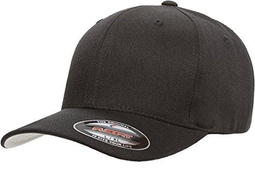 Flexfit/Yupoong Herren Wool Blend Athletic Baseball Fitted Cap Mütze, schwarz, X-Large Yupoong Flex Fit Twill