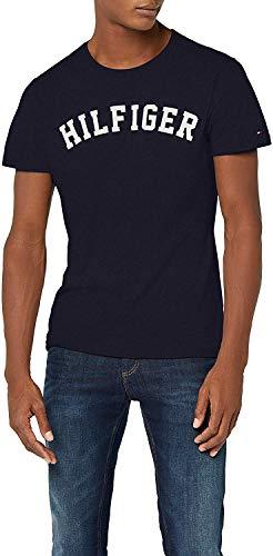 Tommy Hilfiger Herren T-Shirt SS Tee Logo, Blau (Navy Blazer 416), Large