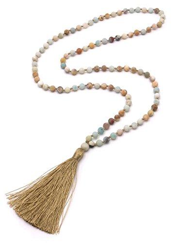 te aus Amazonit Perlen Kette mit Quaste Matt Bunt Gold Lang 80cm ()