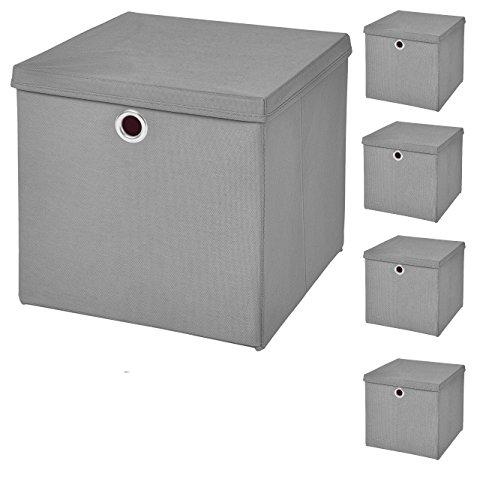 5 Stück Faltbox Hellgrau 28 x 28 x 28 cm Aufbewahrungsbox faltbar mit Deckel