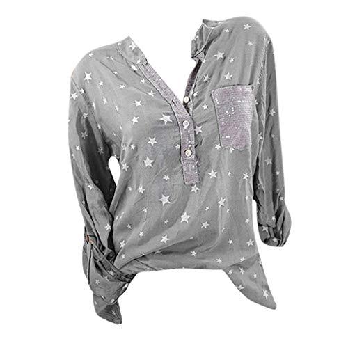 Qmber Damen Pulli Langarm T-Shirt Lose Bluse Frühling Sommer Langarmshirts Hemd Pullover Sweatshirt Oberteil Tops Kurzärmliges T-Shirt mit V-Ausschnitt und Sternendruck/Gray,4XL (Halloween-kostüme Irland Baby-mädchen)