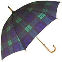 Chrysalin Tartan Walking Length Umbrellas - Green/Navy (As Black Watch)