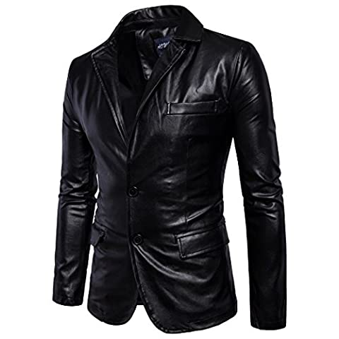 SANKE Homme Veste en cuir masculin pour homme Pu Faux Slim Fit Two Button Blazer Jacket