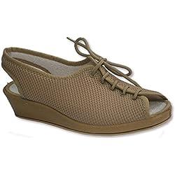 Zapatilla cordones abierta de punta y talón para pies muy delicados Soca en beig talla 41