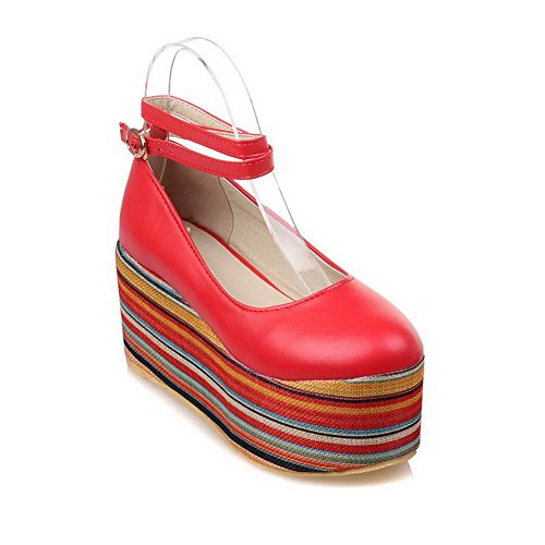VogueZone009 Damen Weiches Material Schnalle Rund Zehe Hoher Absatz Pumps Schuhe Rot