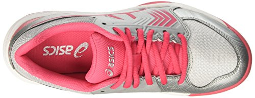 Asics Gel-Dedicate 5 Clay, Chaussures de Tennis Femme Multicolore (Silver/rouge Red/white)