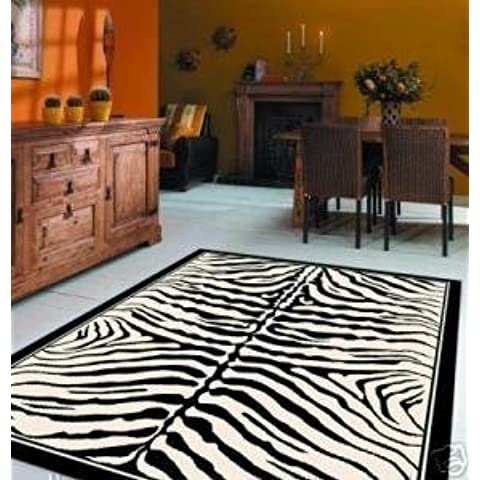 Tappeto Wildlife zebrato a righe bianche e nere 160 x