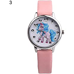 dontdo unicornio reloj pantalla analógica reloj de pulsera de cuarzo de piel sintética, 2#, cute
