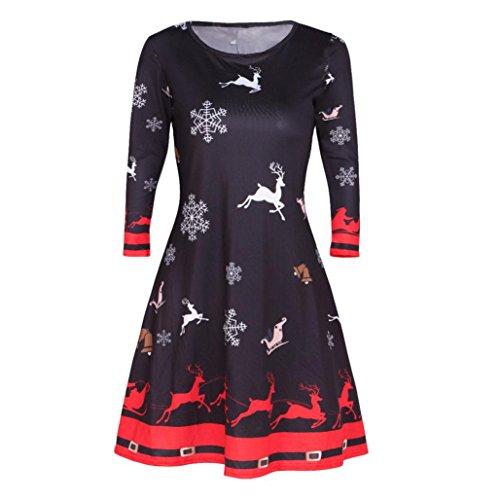 Dasongff Frauen Langarm Weihnachten Hirschr Gedruckt Kleid Skaterkleid für damen Partykleid Christmas Dress Festlich Kleid Festlich Partykleid Cocktailkleid (SchwarzA, M) (Weihnachts-kleidung Für Frauen)