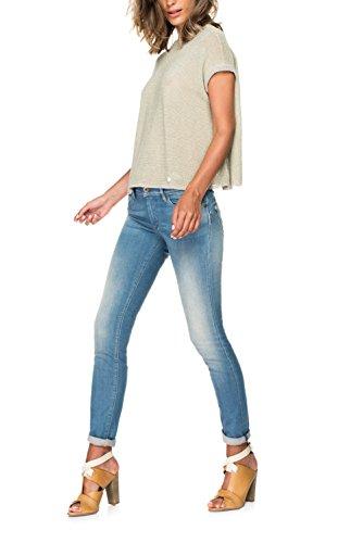 Salsa - Jeans Push Up avec taches d'usure et détail en simili cuir - Wonder - Femme Azur