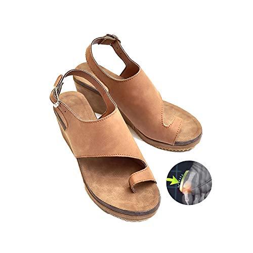 TTW Sandali di Estate delle Donne Pattini della Piattaforma Piatta Pantofola Solido Casual Correzione del Piede Sandali Ortopedico Alluce Valgo Correttore,Brown,35