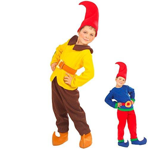 Amakando Zwergenkostüm Wichtelkostüm für Kinder 110 gelb, braun Kinderkostüm Zwerg Faschingskostüm Wichtel Wichtelmann Karnevalskostüm Kobold Outfit Gnom ()