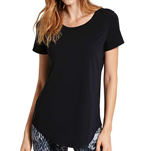 CRZ YOGA Mujer Algodón Pima Suelta Camisetas Manga Corta Deportiva Tops  Negro L(42) 5a049235984e0