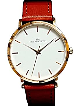 FIA MONETTI Damen-Armbanduhr Analog Quarz mit braunem Lederarmband in der Geschenkbox