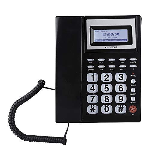 VBESTLIFE Festnetztelefon mit Kabel und LCD-Lautsprecher Großbildanzeige für eingehende Anrufe mit Dual Port Extension Kit für Unternehmen und Büros.(schwarz) Telefon-extension-kit