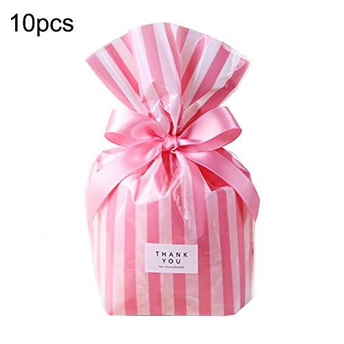 hefeibiaoduanjia Beutel für Süßigkeiten, Kekse, Lebensmittelverpackung, für Hochzeit, Party, Geburtstag, Geschenkbeutel, Süßigkeiten, Kekse, Lebensmittelverpackung, Hochzeit, 10 Stück Rosa