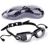 ThreeCat Waterproof Swimming UV Anti-Fog Professional Sports Men's and Women's Glasses with Earphones