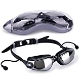 Waterproof Swimming Goggles UV Anti-Fog Professional Sports Glasses with Earphones Adjustable for Men