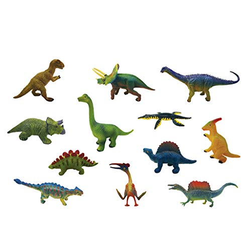 Jamicy® Dinosaurier Figuren Kinder, Tyrannosaurus Rex, Pterosaurus, Triceratops, Brontosaurus, Ceratosaurus, Ridgeback, Gezackter, Stegosaurus, Longjinx, Entenschnabel, Blauer Dinosaurier -