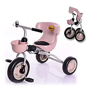 TX Baby Folding Tricycle Toddler Bike 3-6 Years Old Children Boys Girls Free Installation Lightweight,Pink   12