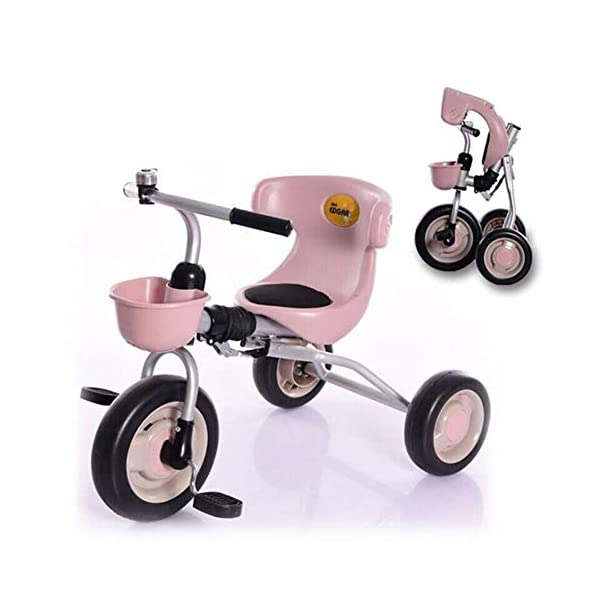 TX Baby Folding Tricycle Toddler Bike 3-6 Years Old Children Boys Girls Free Installation Lightweight,Pink TX One second folded, storage convenience, space, go out to play, easy to carry. 34cm longer rear axle does not rollover, the longer the rear axle, the less likely rollover. The steering lock 30 degrees, riding easily turn roll. 1