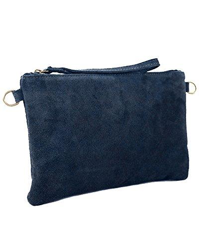 Clutch Leder dunkel blau kleine Ledertasche Wildleder Umhängetasche Abendtasche klein Partytasche Handtasche Lederhandtasche 31-bue