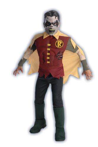 Rubies Kost-me Der schw-rzeste Nacht Deluxe Zombie Robin Kinderkost-m Large - 12-14 (Kinder Deluxe Green Lantern Kostüm)