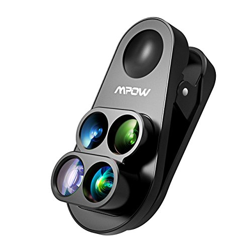 Lenti Smartphone Mpow 4-in-1 Lenti Kit Clip-on, Lente Grandangolo 0,65X e Lente Macro 10X, Lente Fisheye Suprema160°& Lente Teleobiettivo1,5X, per iPhone 7 Plus, iPhone 8 Plus, iPhone 6S/6 Plus ecc